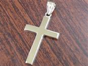"""1"""" PLAIN CROSS PENDANT CHARM REAL 14K GOLD 0.9g CHRISTIAN JESUS"""